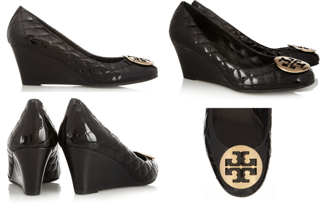 Tory Burch Quinn quilted patent-leather pumps