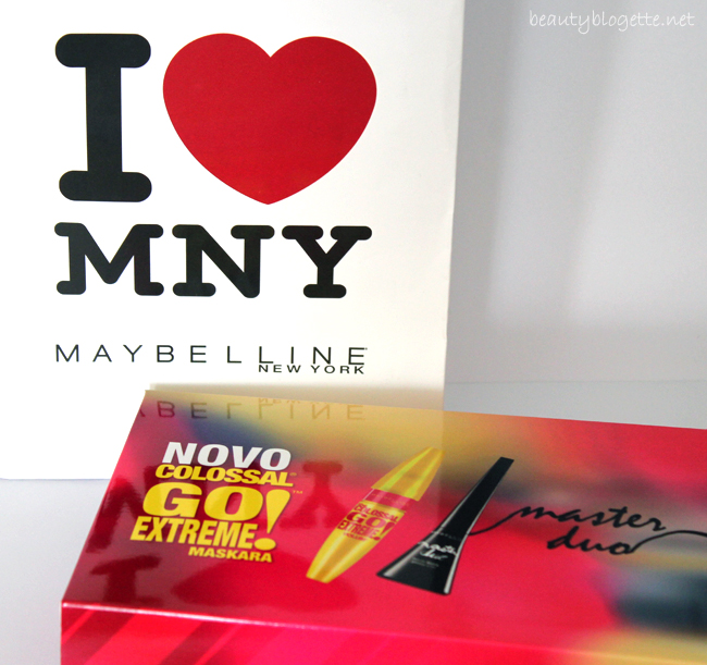 Maybelline The Colossal Go Extreme! Volum' maskara i Master Duo thin or thick glossy tuš
