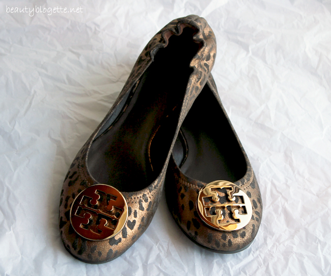 Tory Burch Reva cheetah-print metallic leather ballet flats