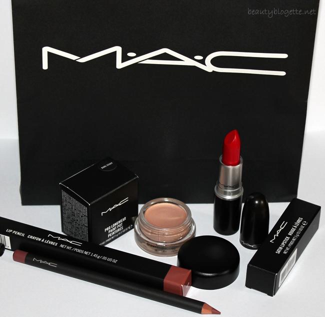 MAC Red ruž,  Bare Study Pro Longwear Paint Pot i Whirl olovka za usne