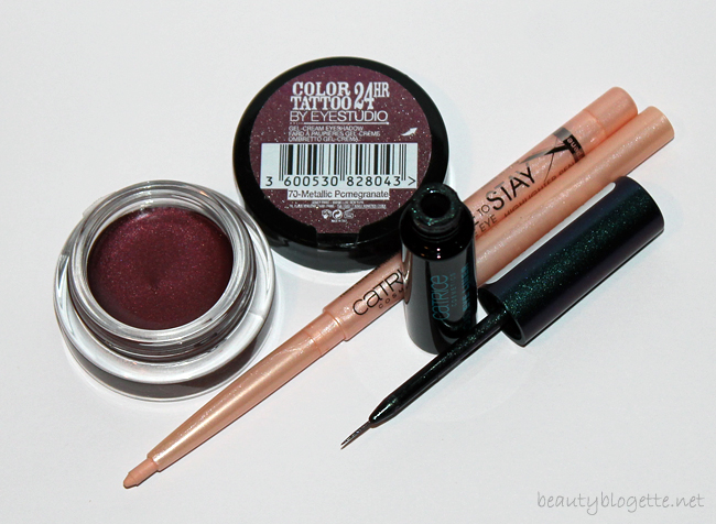 Catrice tuš Feathered Fall, Catrice Made to Stay Inside Eye olovka 010 In The Mood For Nude i Maybelline New York Color Tattoo sjenilo 70-Metallic Pomegranate