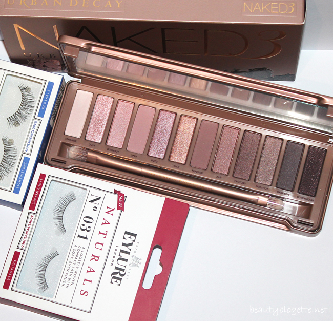 Urban Decay Naked3 paleta, Eylure trepavice N°035 Lengthening i N°031 Naturals