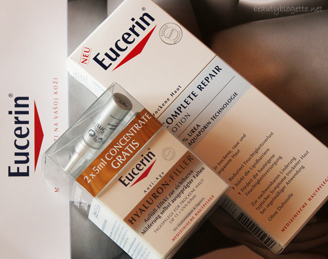 Eucerin Hyaluron-Filler dnevna krema za suhu kožu sa SPF 15 i UVA zaštitom i Complete Repair losion s 5% ureje