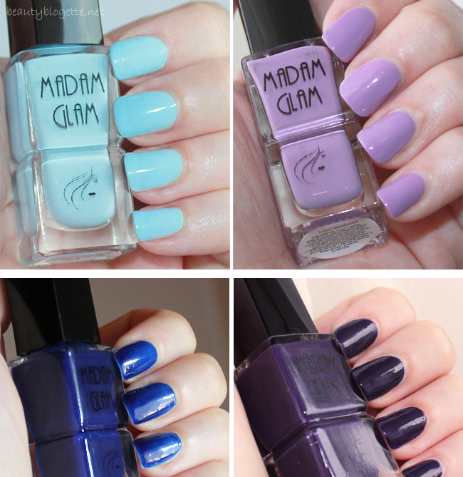 Madam Glam nail polishes: Look At The Stars, Text me Later, Lilac Madness i Sea, Swing and Sun