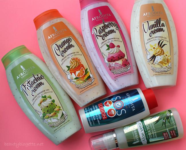 Kozmetika Afrodita Kremasti gelovi za tuširanje, Sun care SOS losion & Aloe vera hydra tonik