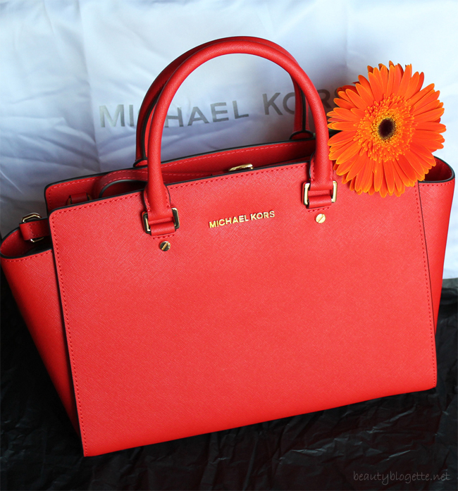 Michael Kors Selma large textured-leather tote in Mandarin
