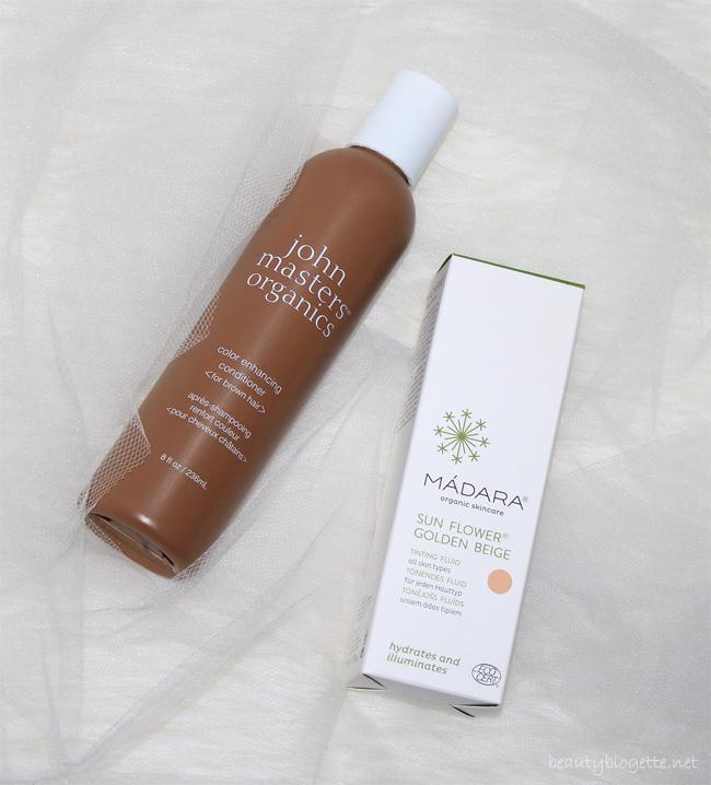 John Masters Organics Regenerator za jačanje boje za smeđu kosu i Mádara Sun Flower Golden Beige tonirani fluid