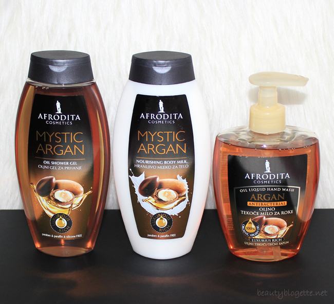 Kozmetika Afrodita Mystic Argan Uljni gel za tuširanje, Mystic Argan Hranjivo mlijeko za tijelo & Argan Uljni tekući sapun