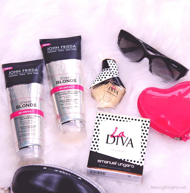 John Frieda Sheer Blonde Hi-Impact Vibrancy Restoring šampon i regenerator, Emanuel Ungaro La Diva EdP & Vogue Embrace naočale