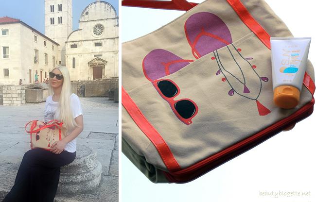 Avon torba za plažu i Sun Pure & Sensitive Vodootporni losion za sunčanje za lice i tijelo SPF 50