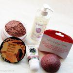 Ecco Verde: Konjac spužvica za lice s crvenom glinom, Akamuti Chocolate Marshmallow maska za lice, NaturAllegra Tekući sapun & Sante Krema za ruke s bio karite maslacem
