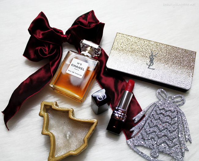 YSL Sparkle Clash paleta, Dior Rouge Dior Couture Colour 999 Matte ruž & Chanel N°5 parfem