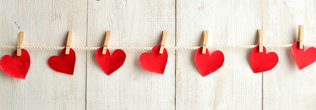 Valentines day red hearts from Shutterstock