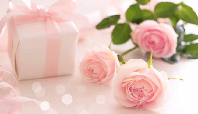 Pink roses with gift from Shutterstock