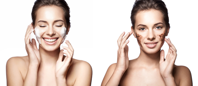 Photos from Shutterstock of woman who cleanses the skin & woman with a coffee scrub on her face