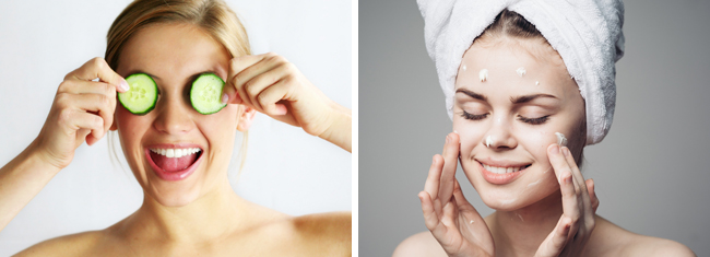 Photos from Shutterstock of woman with cucumber slices on eyes & woman applying face cream