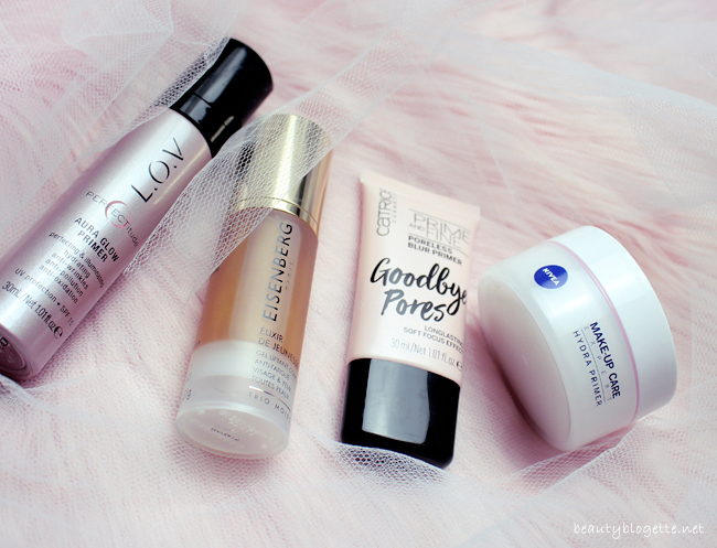 Baze za lice: Catrice Goodbye Pores, Nivea Hydra Primer, Eisenberg Youth Elixir & L.O.V Aura Glow Primer
